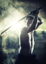 Warrior with his katana sword Royalty Free Stock Photo
