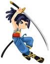 Warrior kid a digitally illustrated Stock Image