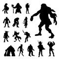 Warrior Knight Ancient Soldier Cosplayer Fight Man Armor Silhouettes Vector Royalty Free Stock Photo