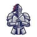 Warrior knight mascot Royalty Free Stock Photo