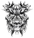 Warrior skull and rebel skulls black and white Royalty Free Stock Photos