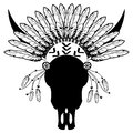 Warrior style Wild Animal Skull  with tribal Headdress with plain feathers, decorative band and beads  in white and black Royalty Free Stock Photo