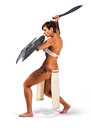 Warrior woman beautiful strong in the image of the of the ancient world on white background Royalty Free Stock Photography