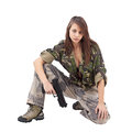 Warrior Woman in military camo Royalty Free Stock Photography