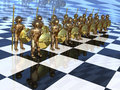 Warriors on the chess-board Stock Image