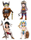 Warriors from various culture set consists of apache vikings medjay turkish warrior create by vector Royalty Free Stock Images