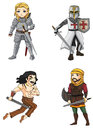 Warriors from various culture set vector consists of knight persian crusader and celtic warrior all create by Stock Images