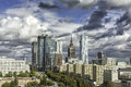 Warsaw downtown at sunny autumn afternoon with dramatic clouds poland Stock Image