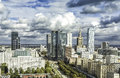 Warsaw downtown at sunny autumn afternoon with dramatic clouds poland Stock Photo