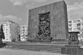 Warsaw ghetto monument in memory of and fighters of jewish who died during fights against german occupants in angle view Stock Photo