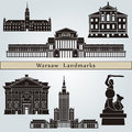 Warsaw landmarks and monuments on blue background in editable vector file Royalty Free Stock Photo