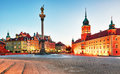 Warsaw, Old town square at night, Poland, nobody Royalty Free Stock Photo