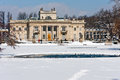 Warsaw palace on the water in winter city poland march time lazienki park area royal baths park major tourist attraction Stock Photo