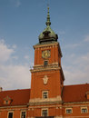 Warsaw poland clock tower of royal castle Stock Photos