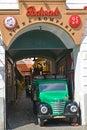 WARSAW, POLAND. Entrance to beer restaurant `Podwale Kompania Piwna`. Polish text `Cellar beer company` Royalty Free Stock Photo
