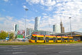 WARSAW, POLAND. The tram goes down the street the Jerusalem Avenues near Sredmestye Royalty Free Stock Photo