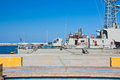 Warship in a harbor of rhodes greece on july Royalty Free Stock Images