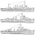 Warship layered vector illustration of Royalty Free Stock Photos
