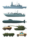 Warships and armored vehicles of land forces. Military transport support