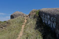 Wartime bunkers brittany france painted and graffiti Royalty Free Stock Photo