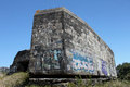 Wartime bunkers brittany france painted and graffiti Royalty Free Stock Photography
