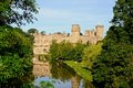 Warwick castle and river avon view of the warwickshire england uk western europe Stock Photo