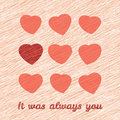 It was always you happy valentine s day greeting card love card with hearts sweet flyer grunge backdrop scratches Royalty Free Stock Images