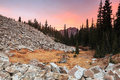 Wasatch dawn in little cottonwood canyon utah autumn landscape with a stream the mountains usa Stock Images