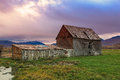 Wasatch fall sunset with a wooden barn rural scene in the mountains utah usa Royalty Free Stock Images