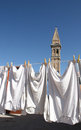 Wash in burano island venice hanging near italy and church tower Royalty Free Stock Photo