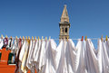 Wash in burano island venice hanging near italy and church tower Royalty Free Stock Photography
