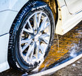 Wash car wheels shine washing Royalty Free Stock Photo