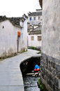 Wash the dishes in xidi village is a southern anhui province yixian county included world heritage list shooting time Royalty Free Stock Photo