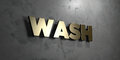 Wash - Gold sign mounted on glossy marble wall - 3D rendered royalty free stock illustration