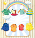 Washed clothes hanging under the heat of the sun illustration Royalty Free Stock Photos