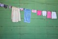 Washed clothes on a line Stock Image