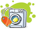 Washer machine with red tag vector illustration Stock Photos