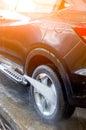 Washing Car Using High Pressure Water. Royalty Free Stock Photo