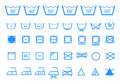 Washing care symbols vector icon set textile laundry Stock Photography