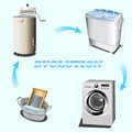 Washing evolution the vector illustration of global from simple basin to an automatic machine Stock Images