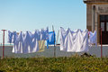 Washing hanging outside an old building, Portugal Coast Stock Photography