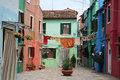 Washing on the line, Burano, Italy. Royalty Free Stock Photo