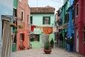 Washing on the line, Burano, Italy. Royalty Free Stock Photo