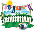 Washing line and clothes Royalty Free Stock Photo