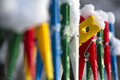 Washing line row colorful pegs covered snow queued row one peg peeking out crowd Royalty Free Stock Photos