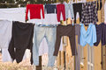 Washing lines with clothes drying Royalty Free Stock Photo