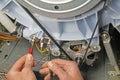 Washing machine appliance repair Royalty Free Stock Photo