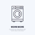 Washing machine icon, washer line logo. Flat sign for launderette service. Logotype for self-service laundry, clothing
