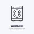 Washing machine icon, washer line logo. Flat sign for launderette service. Logotype for self-service laundry, clothing Royalty Free Stock Photo