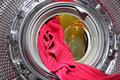 Washing machine inside wool sweater Stock Photos